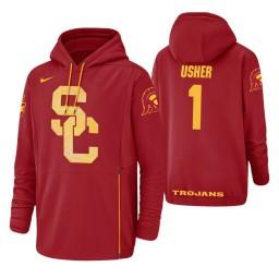 USC Trojans #1 Jordan Usher Men's Red College Basketball Hoodie