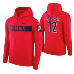 Arizona Wildcats #12 Justin Coleman Men's Red Pullover Hoodie
