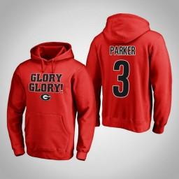 Georgia Bulldogs #3 Juwan Parker Men's Red Pullover Hoodie