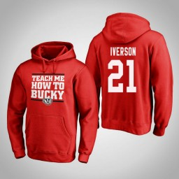 Wisconsin Badgers #21 Khalil Iverson Men's Red Team Hometown Collection Pullover Hoodie