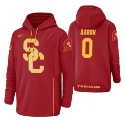 USC Trojans #0 Shaqquan Aaron Men's Red College Basketball Hoodie