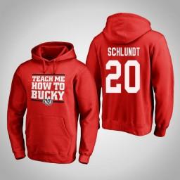 Wisconsin Badgers #20 T.J. Schlundt Men's Red Team Hometown Collection Pullover Hoodie