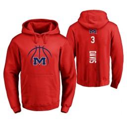 Ole Miss Rebels #3 Terence Davis Men's Red College Basketball Hoodie