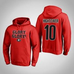 Georgia Bulldogs #10 Teshaun Hightower Men's Red Pullover Hoodie