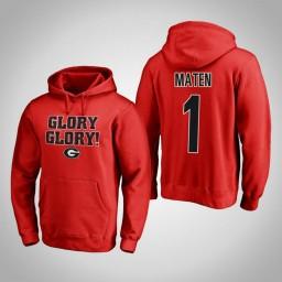 Georgia Bulldogs #1 Yante Maten Men's Red Pullover Hoodie