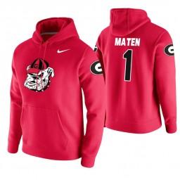 Georgia Bulldogs #1 Yante Maten Men's Red College Basketball Hoodie