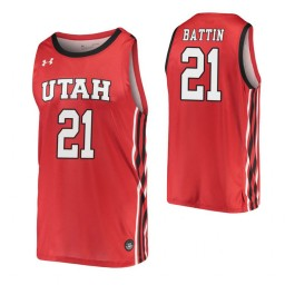 Youth Riley Battin Authentic College Basketball Jersey Red Utah Utes