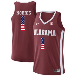Youth Alabama Crimson Tide #1 Riley Norris Authentic College Basketball Jersey Red