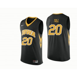 Iowa Hawkeyes #20 Riley Till Authentic College Basketball Jersey Black