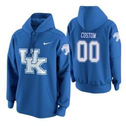 Kentucky Wildcats #00 Custom Men's Royal College Basketball Hoodie