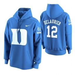 Duke Blue Devils #12 Javin DeLaurier Men's Royal College Basketball Hoodie