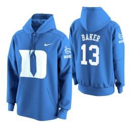 Duke Blue Devils #13 Joey Baker Men's Royal College Basketball Hoodie