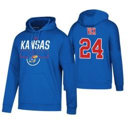 Kansas Jayhawks #24 Lagerald Vick Men's Royal College Basketball Hoodie
