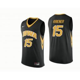 Iowa Hawkeyes #15 Ryan Kriener Authentic College Basketball Jersey Black