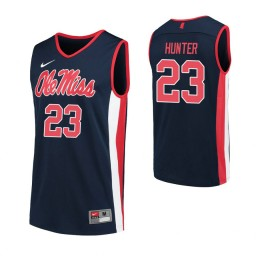 Youth Sammy Hunter Authentic College Basketball Jersey Navy Ole Miss Rebels