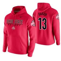 Ohio State Buckeyes #13 Andrew Dakich Men's Scarlet College Basketball Hoodie
