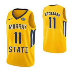Women's Murray State Racers #11 Shaq Buchanan Authentic College Basketball Jersey Yellow