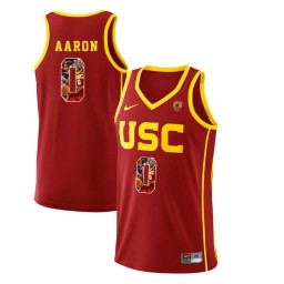 Women's USC Trojans #0 Shaqquan Aaron Authentic College Basketball Jersey Red