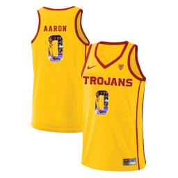 Women's USC Trojans #0 Shaqquan Aaron Authentic College Basketball Jersey Yellow
