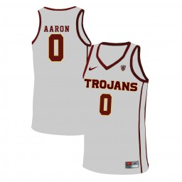 Women's USC Trojans #0 Shaqquan Aaron Authentic College Basketball Jersey White