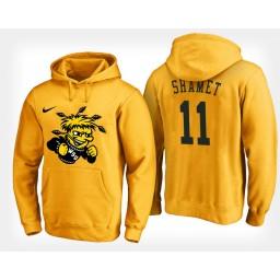 Wichita State Shockers #11 Landry Shamet Yellow Hoodie College Basketball