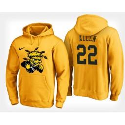 Wichita State Shockers #22 Peyton Allen Yellow Hoodie College Basketball