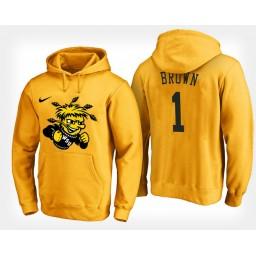 Wichita State Shockers #1 Zach Brown Yellow Hoodie College Basketball