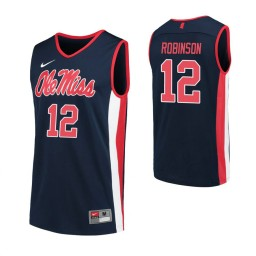 Youth Ole Miss Rebels #12 Shon Robinson Navy Authentic College Basketball Jersey