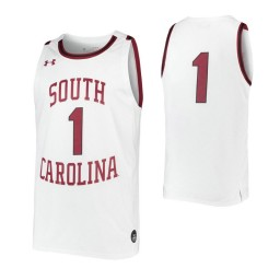 South Carolina Gamecocks #1 Authentic College Basketball Jersey White