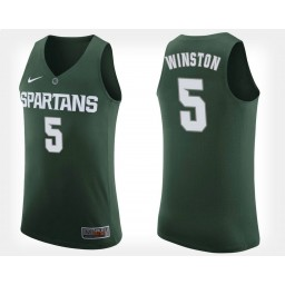Michigan State Spartans #5 Cassius Winston Green Home Authentic College Basketball Jersey