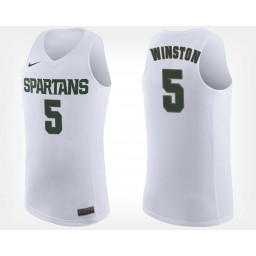 Michigan State Spartans #5 Cassius Winston White Road Authentic College Basketball Jersey