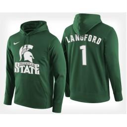 Michigan State Spartans #1 Joshua Langford Green Hoodie College Basketball