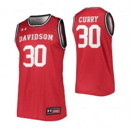 Davidson Wildcats #30 Stephen Curry Red Authentic College Basketball Jersey