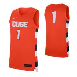 Syracuse Orange #1 Authentic College Basketball Jersey Orange
