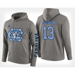 North Carolina Tar Heels #13 Cameron Johnson Gray Hoodie College Basketball