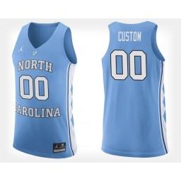 North Carolina Tar Heels #00 Custom Light Blue Home Jersey College Basketball