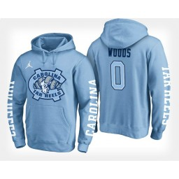 North Carolina Tar Heels #0 Seventh Woods Light Blue Hoodie College Basketball