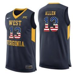 Women's West Virginia Mountaineers #13 Teddy Allen Authentic College Basketball Jersey Navy