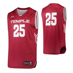 Temple Owls #25 Performance Basketball Authentic College Basketball Jersey Garnet