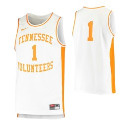 Tennessee Volunteers #1 Retro Authentic College Basketball Jersey White