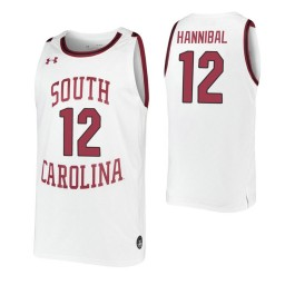 South Carolina Gamecocks #12 Trae Hannibal White Authentic College Basketball Jersey