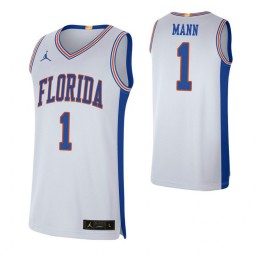 Women's Florida Gators #1 Tre Mann White Authentic College Basketball Jersey