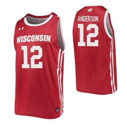 Trevor Anderson Authentic College Basketball Jersey Red Wisconsin Badgers