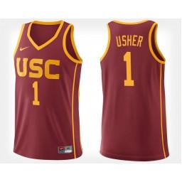 Women's USC Trojans #1 Jordan Usher Cardinal Home Authentic College Basketball Jersey