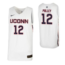 Women's Tyler Polley Authentic College Basketball Jersey White UConn Huskies