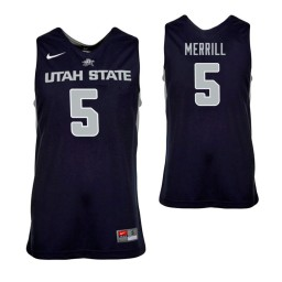 Youth Utah State Aggies Sam Merrill Authentic College Basketball Jersey Navy Blue