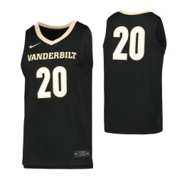 Vanderbilt Commodores #20 Authentic College Basketball Jersey Black