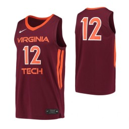 Women's Virginia Tech Hokies #12 Authentic College Basketball Jersey Maroon