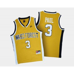 Wake Forest Demon Deacons #3 Chris Paul Gold Alternate Authentic College Basketball Jersey