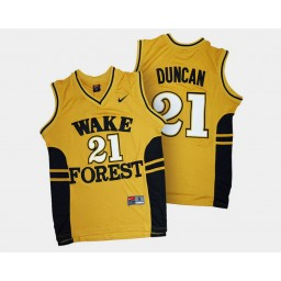 Wake Forest Demon Deacons #21 Tim Duncan Gold Alternate Authentic College Basketball Jersey